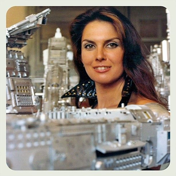 Starcrash (1978)  Directed by Luigi Cozzi. Caroline Munro who plays Stella Star with the miniature of Count Zarth Arn's Space Claw Space Station illuminated blue in the final movie #starcrash #luigicozzi #carolinemunro #stellastar #miniature #modelmaking #spaceclaw #spacestation #countzartharn #1978 by glazyuk