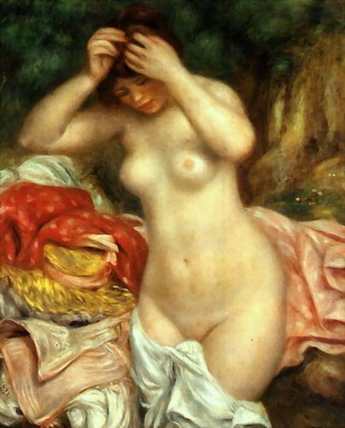 Bather Arranging Her Hair Pierre Auguste Renoir