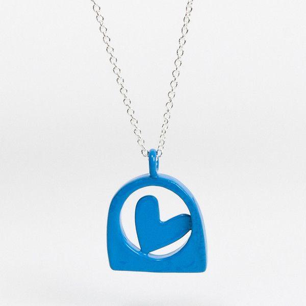 Coloured Lace Heart Pendant - Blue   DARKBLACK $260 NZD