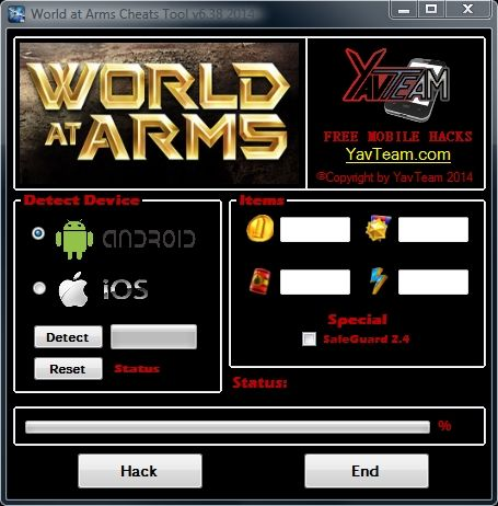 World at Arms Cheats Tool v6.38 2014 for Android/iOS. Working without problems. Download here! The Best Cheats only from YavTeam. http://www.yavteam.com/world-arms-cheats-tool-v6-38-2014/