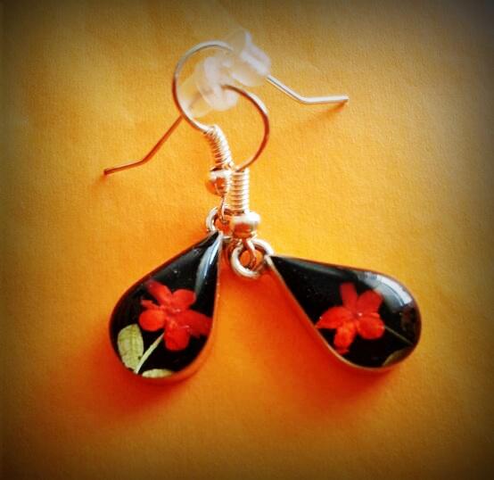 Tear drop, drop earrings, red flower, red, Sterling silver