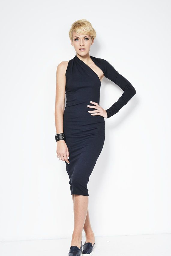 NEW THICKER option Black One Shoulder Dress / by marcellamoda