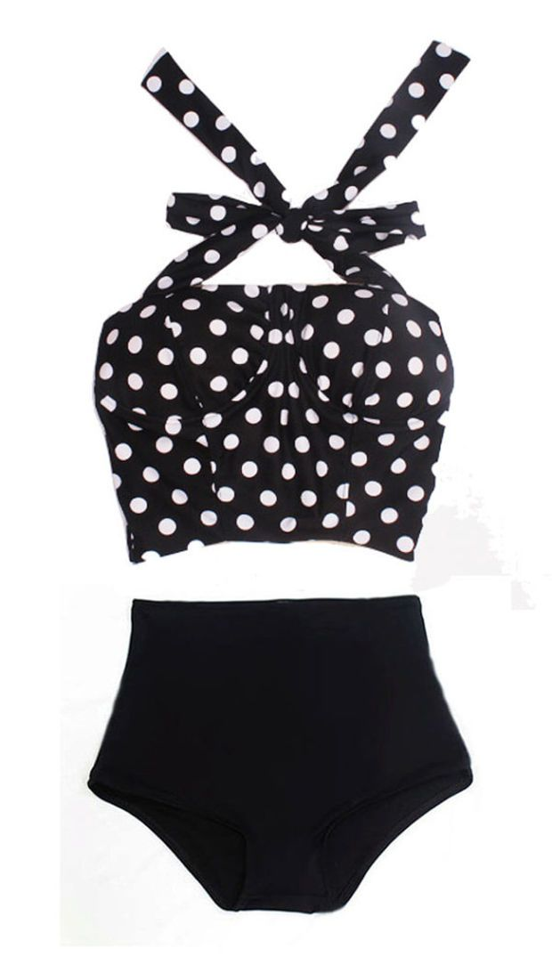 Black White Polka Dot Long Cover Top and Black Bottom Two-piece Bikini Two-piece Swimsuit Swimwear Swimming Swim Bathing suit dress wear S M