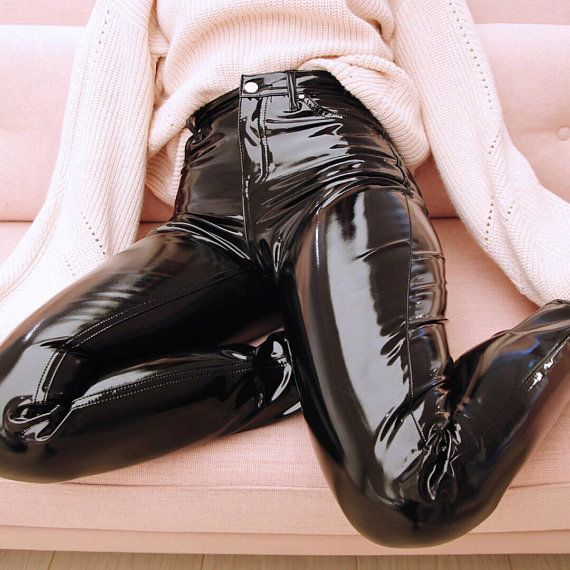 PVC Vinyl Jeans Pants Leggings – Women's, Men's – Black, Red, Pink, Blue, White etc – Leather Latex – XS, S, M, L, XL etc