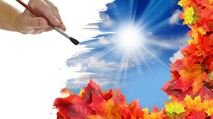 Кисть, листья, облака, рисунок, рука, солнце, осень