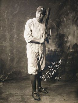 Pictured above, Babe Ruth is seen holding a baseball bat; he played for the Red Sox and the Yankees. As the number of household radios increased, so did the number of baseball fans as they could cheer on their favorite team from the comfort of their own home.