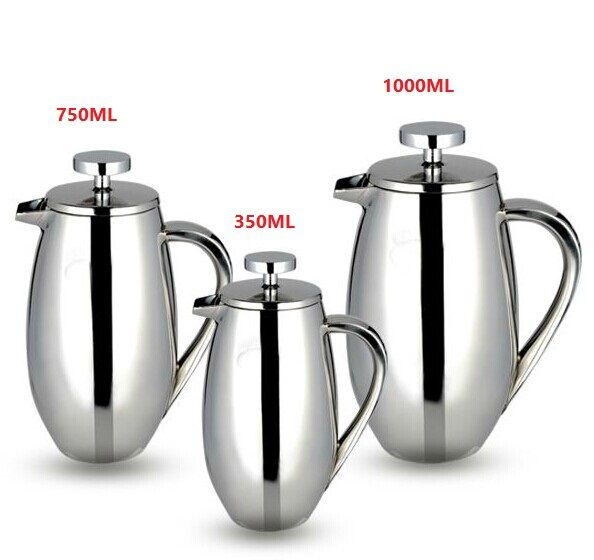 1pc 350/750/1000ml stainless steel french press pot drum shape filter coffee plunger Anti-scald design