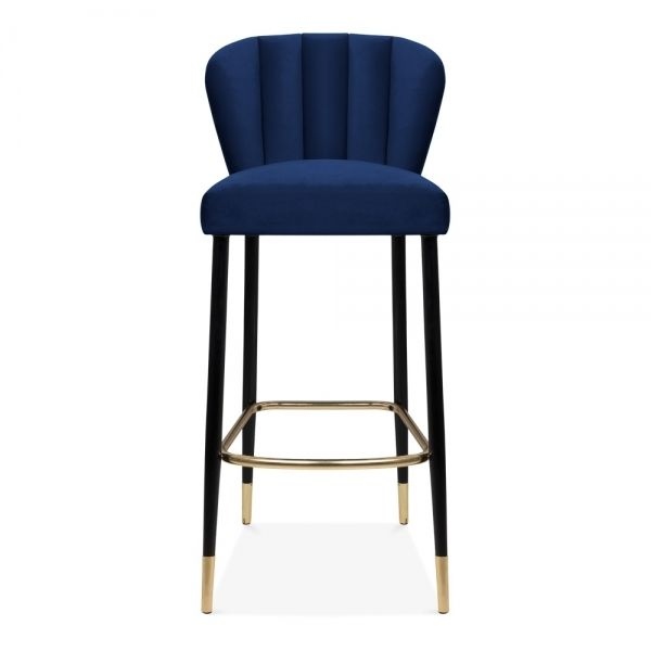Tribeca Bar Stool With Backrest Velvet Upholstered Royal Blue