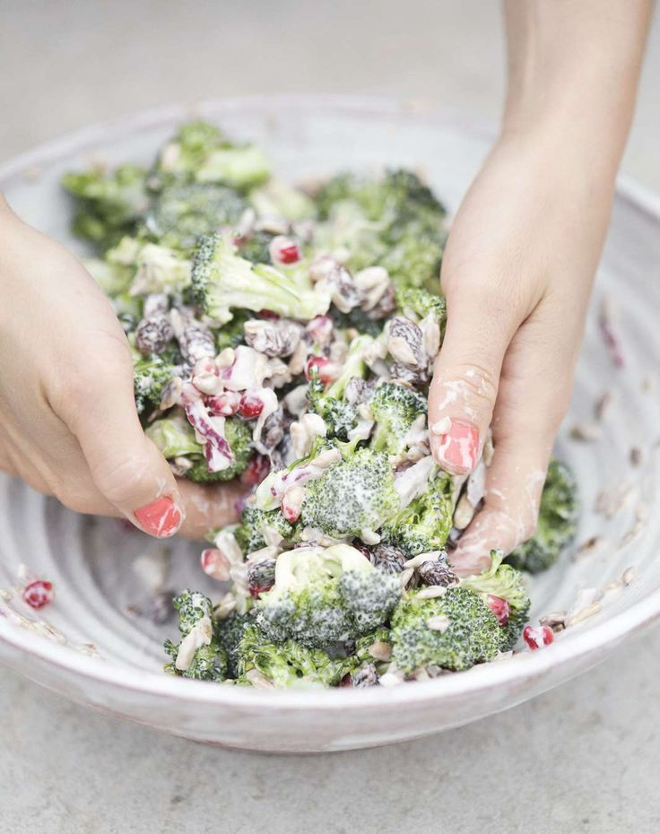 Broccoli salad with pomegranate and raisins by David Frenkiel from The Green Kitchen   Cooked