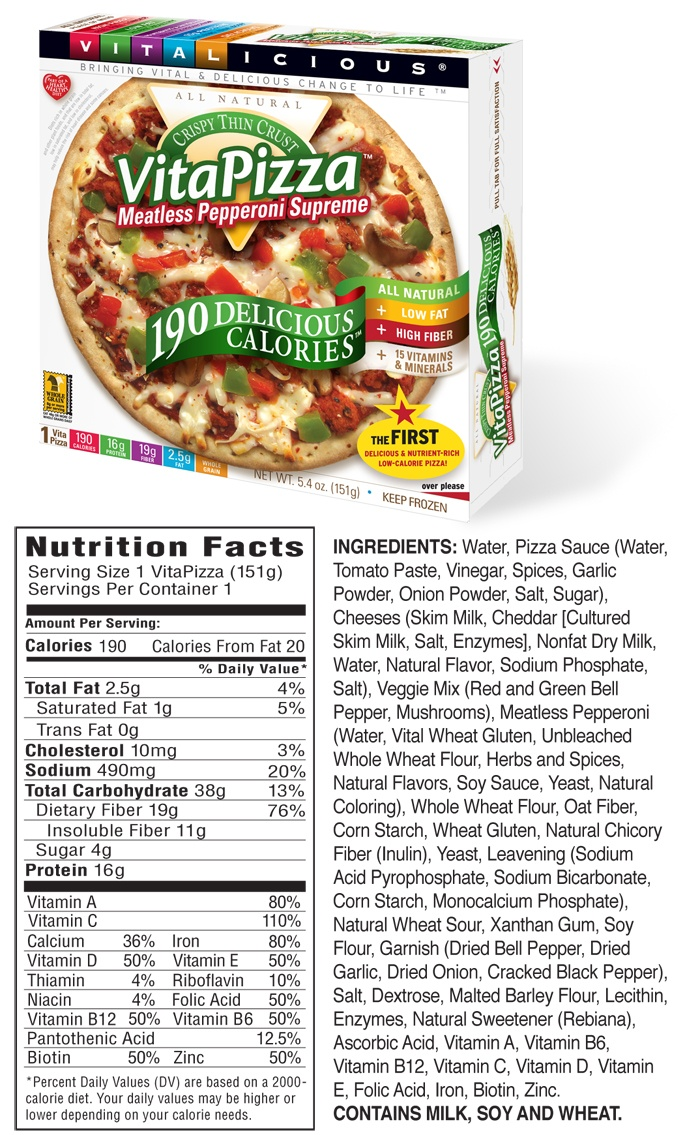 190 Calorie VitaPizza Nutrition Facts - Meatless Pepperoni SupremeLow Carb, Calories Vitapizza, Beach Body, Meatless Pepperoni, Carb Food Meals, 190 Calories, Healthy Food, Meals Plans, Body Meals