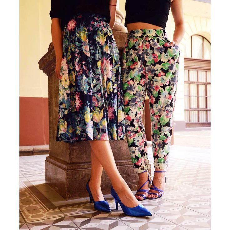Floral Fiesta  Beautiful vintage floral skirt and pants with disco queen shoes #szputnyik #szputnyikshop #budapest