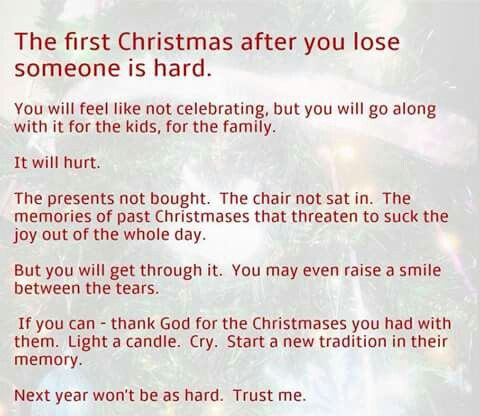 So not true....this is the second christmas and it hurts just as much as the first....more....because we were still in shock last year...this year the thoughts are harder to bear :..(((