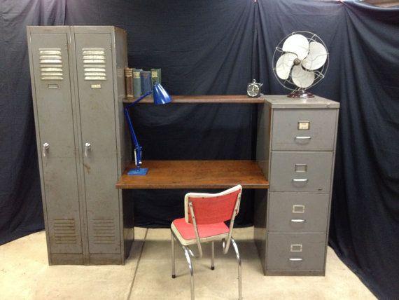 vintage office desk vintage filing cabinet by OldSoulStore on Etsy, $800.00