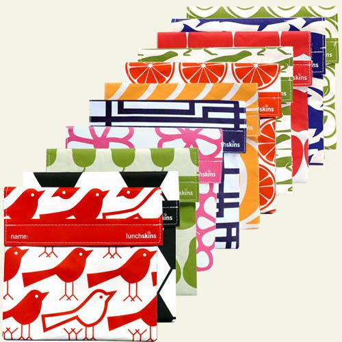 These reusable, dishwasher safe baggies are environmentally friendly AND freaking adorable. I've got a couple of each size that I use daily for lunch/snacks, etc. (LunchSkins.)