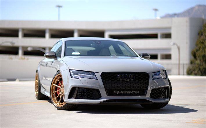 Audi RS7 Sportback, supercars, 2016 cars, tuning, gray rs7, Audi