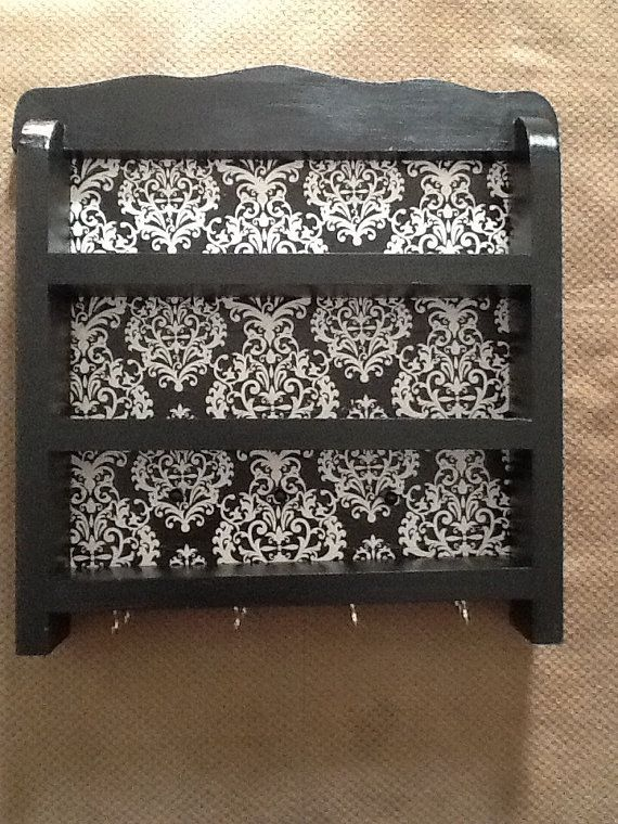 black and white damask nail polish jewelry holder - Damask Bedroom Ideas