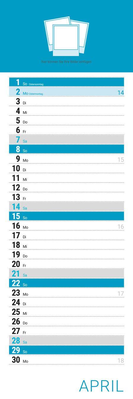Kalender Layoutvorlage Streifenkalender - kostenloser Download als PDF oder InDesign-Datei - Kalendarium 2018 - mit Feiertagen & Kalenderwochen