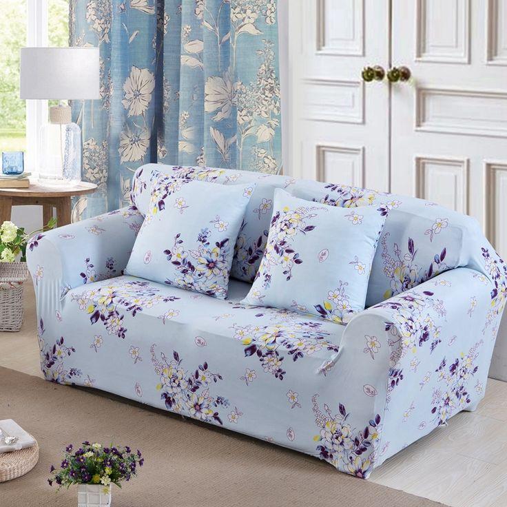 Sleeper Sofas  USD Light blue flowers print sofa cover single double three four seat stretch