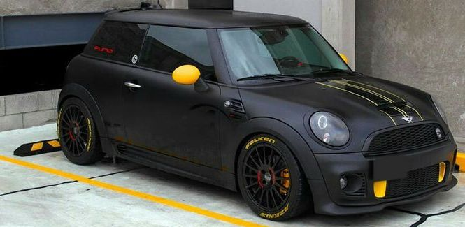 #MiniCooper Matte Black with Yellow Accents #Rvinyl's got the #Brembo look for a fraction of the cost.