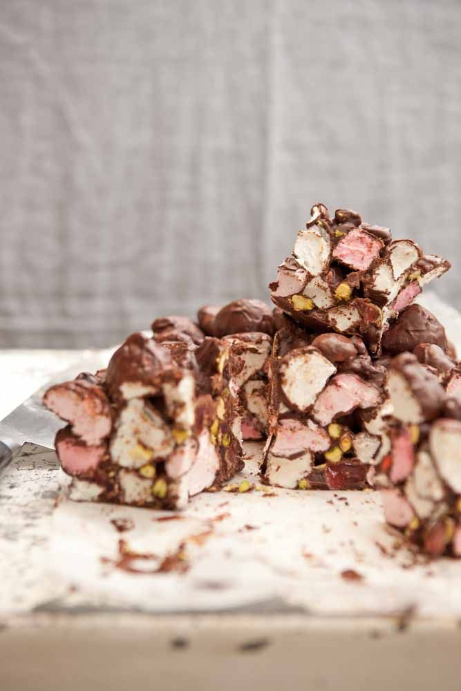 I've been making rocky road for so long now I can't even remember the first one I ever made. These days I only make it at home every once in a while but I do make it professionally and sell it at my partner, Astrid's, chocolate shop.