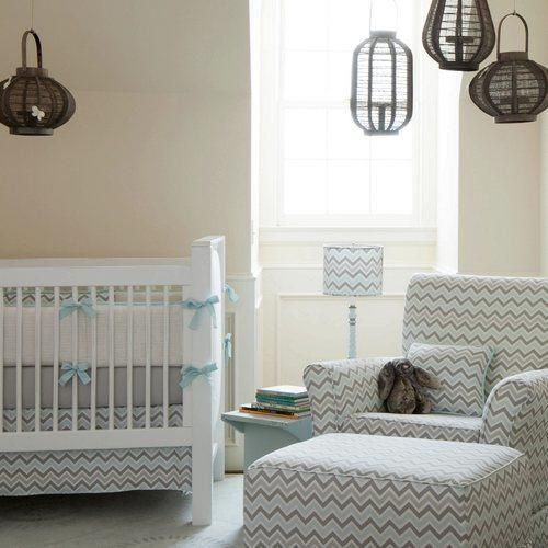Gender Neutral Crib Bedding in Mist Blue and Gray by Carousel Designs.