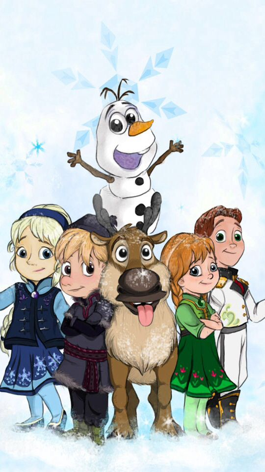 There's a cute cartoon drawing if the characters