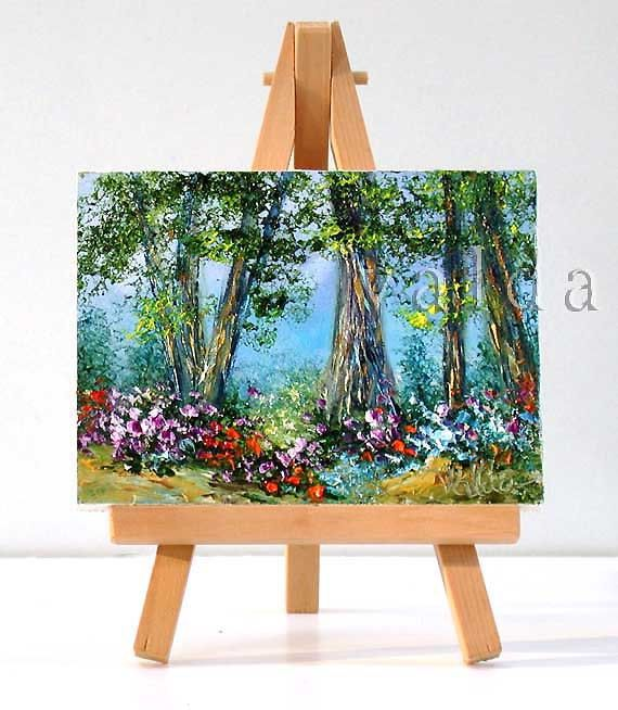 "Trees surrounded with Flowers, 3x4"", original miniature oil painting, gift item"