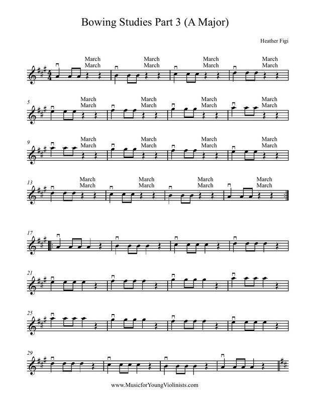 FREE DOWNLOADS: Bowing Studies & Scales (A, D & G Major) for Violin #FreeSheetMusic, #ViolinMusic
