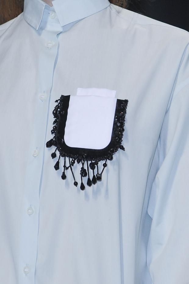 Shirt with beaded pocket detail - modern embellishment; sewing ideas; fashion close up // No. 21 A/W 2013