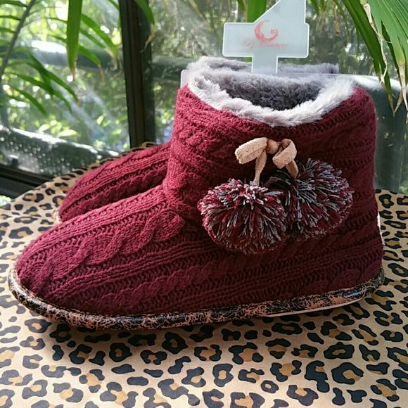 Fuzzy Slipper Boots Gorgeous color, super warm and rubber sole for long lasting wear.... Fits Sizes 9/10 Pj Couture  Shoes Slippers