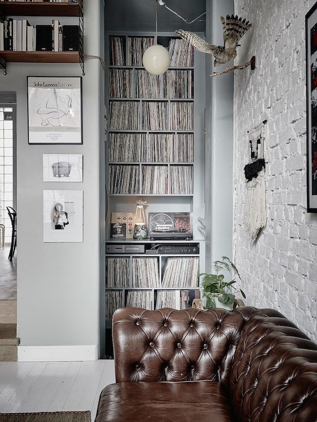 record albums - go vinyl! my scandinavian home: A romantic Swedish home with vintage touches