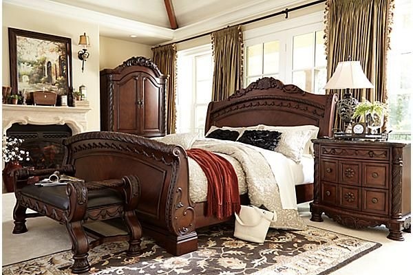 """The North Shore Upholstered Bench from Ashley Furniture HomeStore (AFHS.com). A rich traditional design and exquisite details come together to create the ultimate in the grand style of the """"North Shore"""" bedroom collection."""