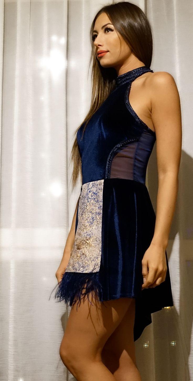 Velvet dresses by Sorayya Design - Halter Dress with feather fringe details