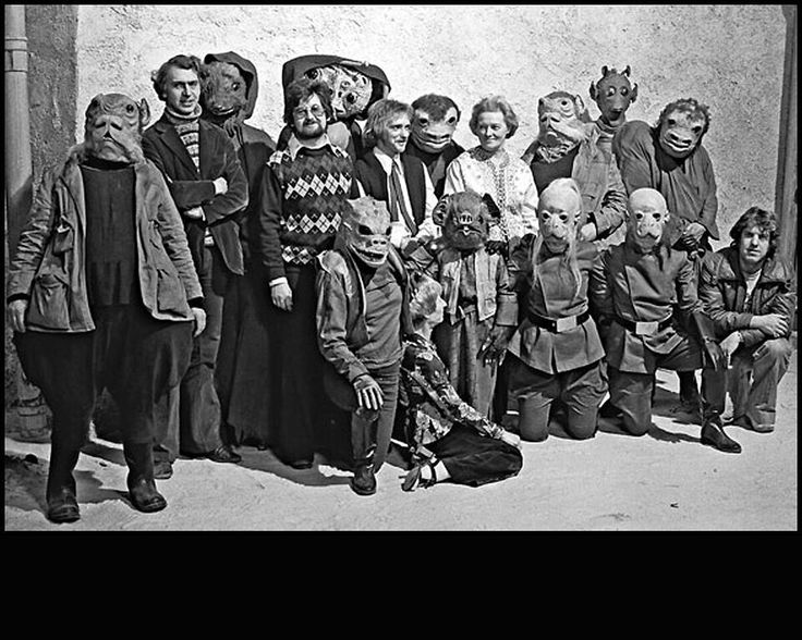 """<p>These makeup artists were <a href=""""https://www.yahoo.com/movies/the-star-wars-cantina-scene-the-151216488.html"""">given 10 weeks to fill the cantina with exotic aliens</a>, including Greedo (upper right). From left: Chris Tucker, Nick Maley, Graham Freeborn, Kay Freeborn, and Sylvia Croft. Not pictured: Stuart Freeborn.(Image: Lucasfilm via Nick Maley)</p>"""