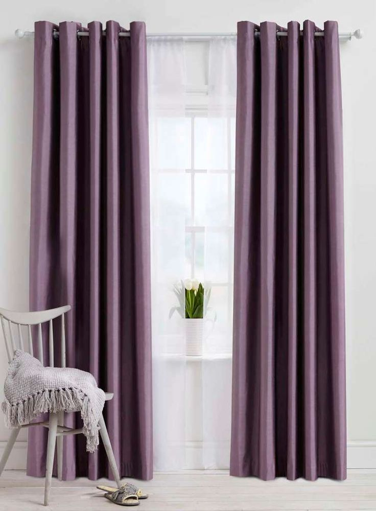 White Interior With Purple Eyelet Faux Silk Curtains