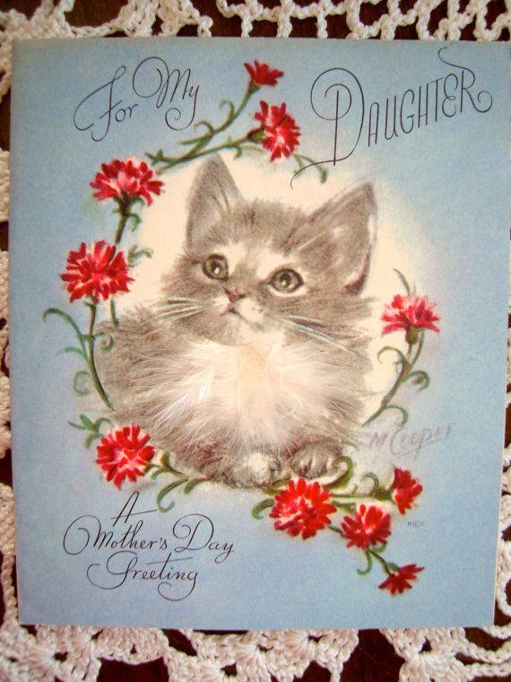 Vintage Greeting Card by Rust Craft - Mother's Day, Cat - by artist Marjorie Cooper