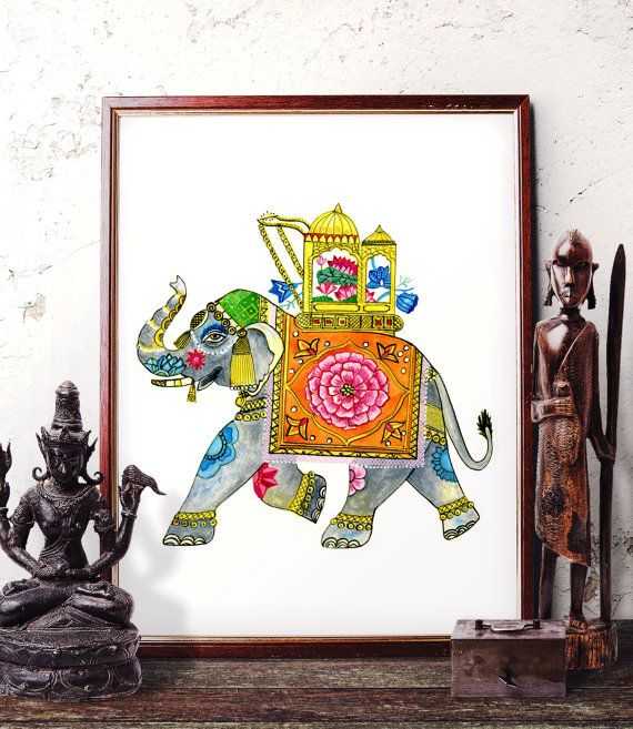 Traditional Elephant Watercolor Painting, Indian Elephant Wall Art, Elephant Home Decor, Bohemian Elephant Art Prints and Original Painting by HermesArts