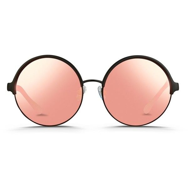 Matthew Williamson Contrast temples layered metal round mirror... (£255) ❤ liked on Polyvore featuring accessories, eyewear, sunglasses, pink, metal-frame sunglasses, round metal frame sunglasses, mirror sunglasses, round mirror sunglasses and retro sunglasses