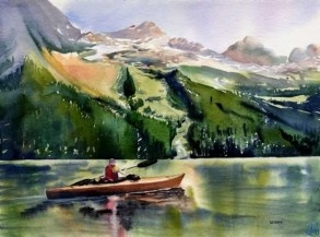 """Kayaker by Artist Kendra Dixson    A kayaker paddles on a mountain lake.     Available in Prints and Art Cards:  8""""x10"""" Print  11""""x14"""" Print  16""""x20"""" Print     6 Pack Cards  20 Pack Cards  50 Pack Cards"""