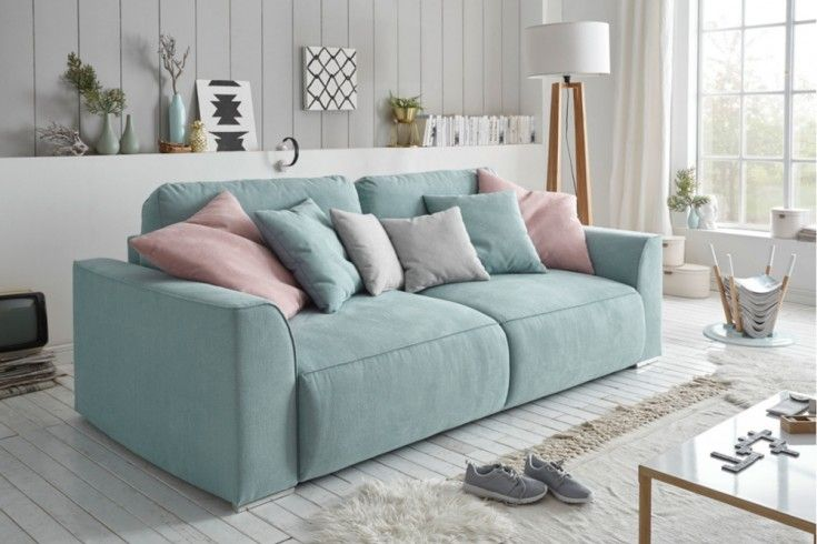 Modernes Design Big Sofa Weekend Aquamarin Schlaffunktion Mit