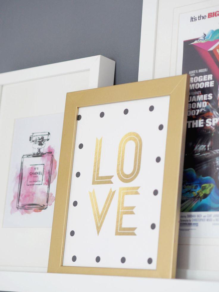 FRAMED PRINTS, GOLD, PINK & GREY BEDROOM MAKEOVER - Bang on Style