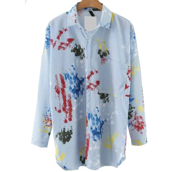 Blue Printed Blouse With Pocket (85.010 COP) ❤ liked on Polyvore featuring tops, blouses, embellished collar blouse, blue top, blue long sleeve blouse, blue long sleeve top and long sleeve embellished top
