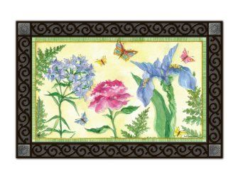 """Botanica MatMate (DOORMAT ONLY) by MatMates. $21.95. Approximately 18"""" x 30"""". Artist: Sally Eckman Roberts. Non-slip recycled rubber backing. This doormat can be used stand-alone or as interchangeable insert in the MatMates outdoor decorative tray or indoor Comfort Tray (as shown, sold SEPARATELY)."""