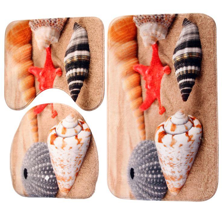 3pcs/set Bath Mats Ocean Underwater Flannel Anti Slip Mat Toilet Pattern Carpet Bathroom Mats Home Use Bathroom Products E5M1 #Affiliate