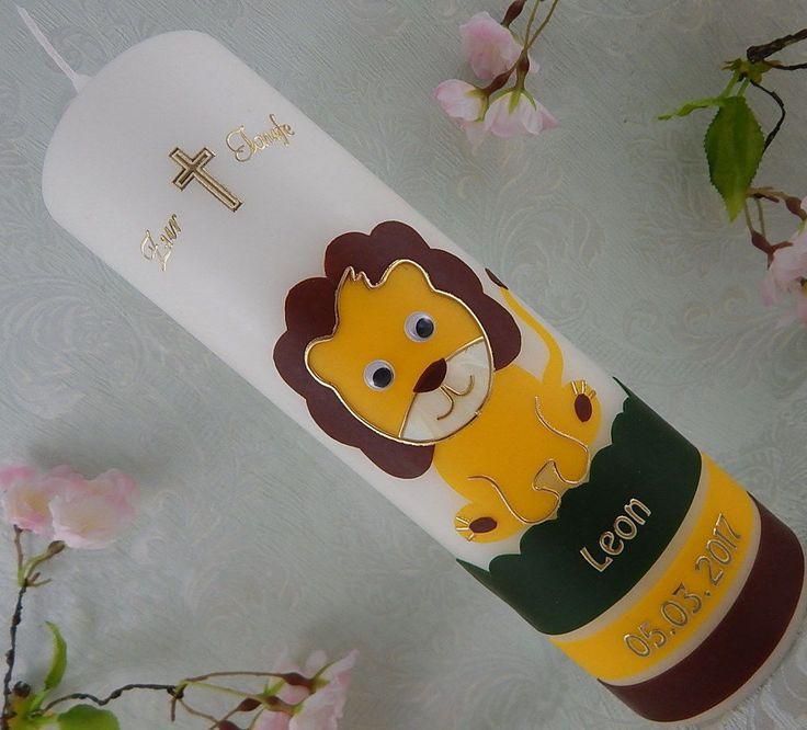 Taufkerze Kommunionlerze Junge Mädchen Löwe inkl. Beschriftung NEU