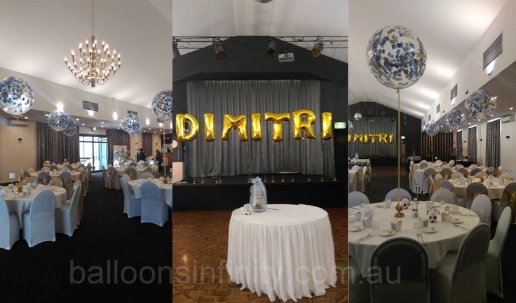 Large clear latex balloons with light blue, dark blue and gold confetti. #largechristeningballoons #largeheliumballoons #largepartyballoons