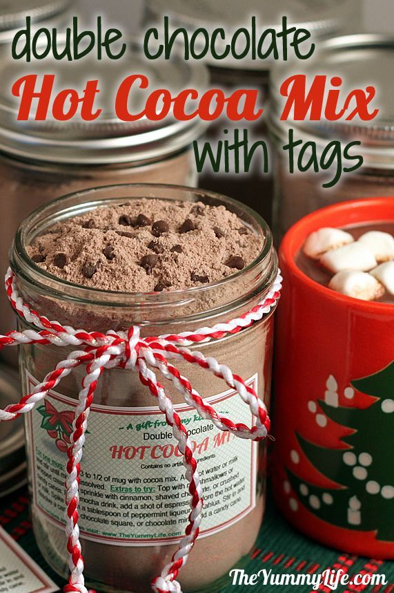 Cute DIY gift idea! Double Hot Chocolate Hot Cocoa Mix with gift tags. And if you don't take milk, then you can use powdered soy milk!