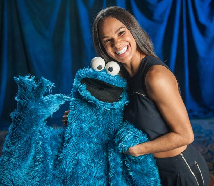 How cute is this pair?! American Ballet Theatre's Misty Copeland cheeses with @sesamestreet's  Cookie Monster.