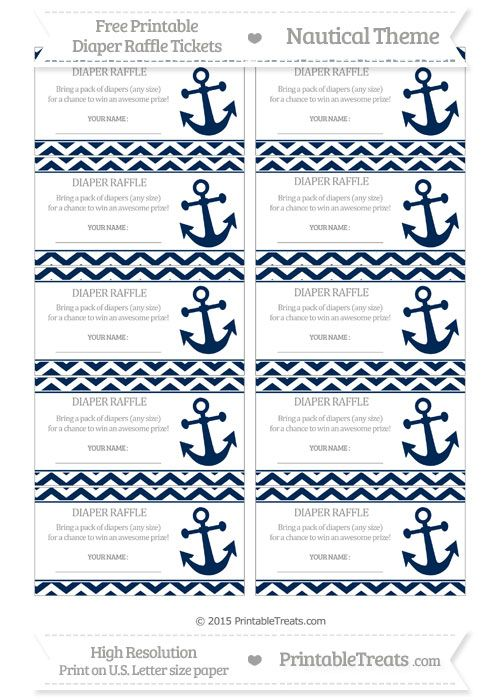 Free Navy Blue Chevron  Nautical Diaper Raffle Tickets