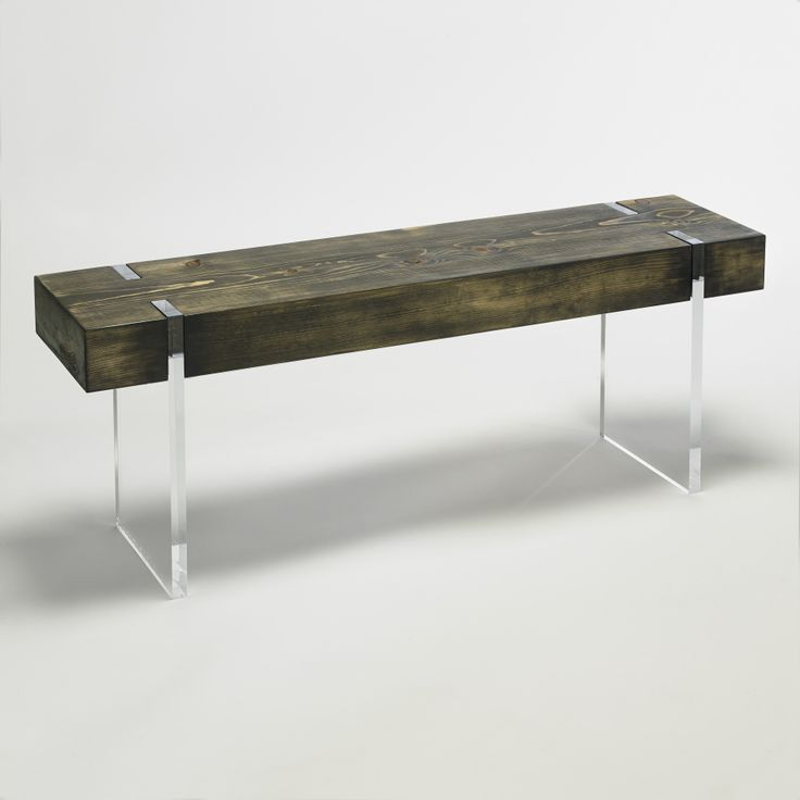 Tillikum Bench: Blue-stained pine with espresso finish and clear acrylic legs